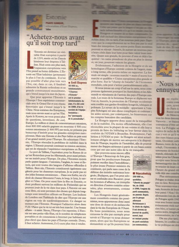 Courrier International  16. juuli 1999